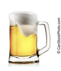assalte, luz, cerveja, com, espuma