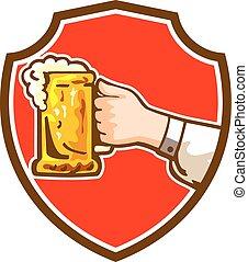 assalte, mão, Cerveja,  retro, segurando, crista