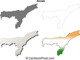 Assam blank detailed outline map set