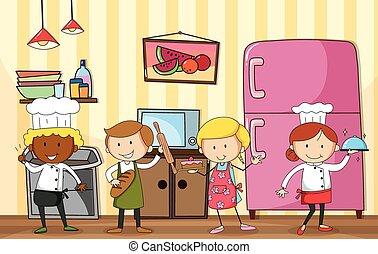 assando, e, cozinhar