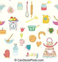 assando, padrão, seamless, objetos, flores, cozinha