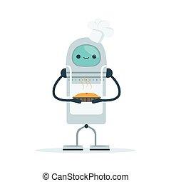 assando, personagem, ilustração, cozinheiro, vetorial, bolo, android