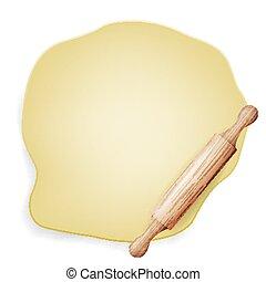 assando, pin., madeira, cartaz, isolado, ilustração, massa, vector., rolando, ingredient., design.