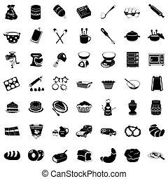 assando, pretas, ícones