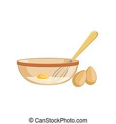 assando, processo, item, isolado, equipamento, cozinha, ovos, tigela