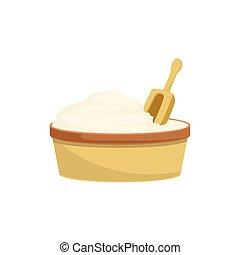assando, processo, item, isolado, farinha, equipamento, cozinha, concha
