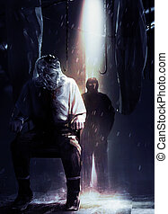 Silent assassin standing in shadows with his victim tied to a chair illustration.