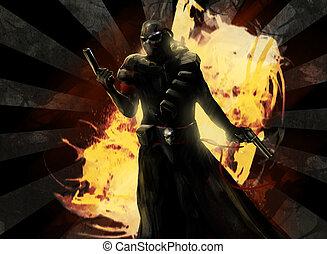 Assassin - Armed assassin warrior posing with guns.