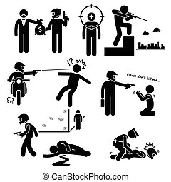 Assassination Hitman Killer Murder - A set of human...