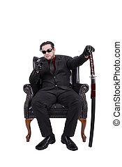 assassino, sedendo sedia, isolato, bianco, fondo.