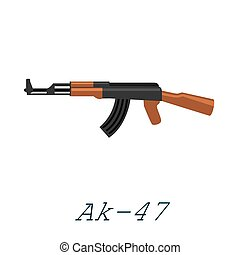 Assault automatic black rifle ak47, military gun on white background isolated vector illustration, weapon with bullets for protection shoting or war