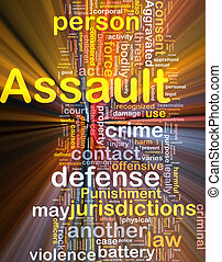 Assault background concept wordcloud glowing