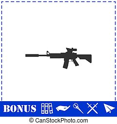 Assault carbine icon flat. Simple vector symbol and bonus ...