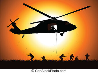 Assault - Vector illustration of a helicopter is dropping...