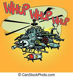 assault military helicopter with missiles. Comic cartoon pop...
