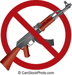 Assault Rifle AK 47 Gun Ban Illustration - Assault Rifle AK...