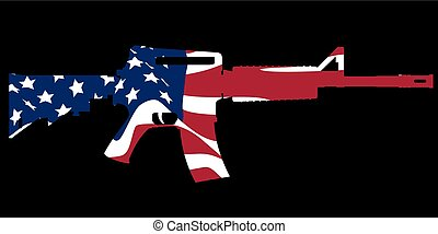 assault rifle and flag - classic American assault gun M16 in...