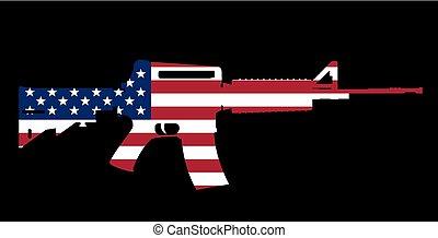 assault rifle and flag