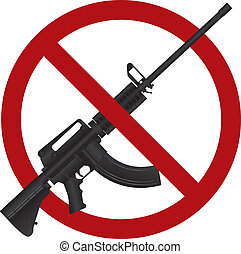 Assault Rifle AR 15 Gun Ban Illustration - Assault Rifle AR...
