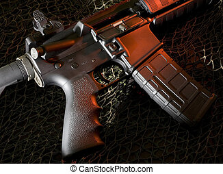 assault rifle - ar-15 that is on a dark background with red...
