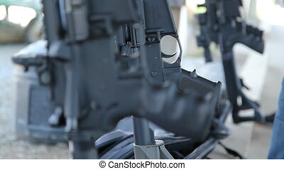 Assault Rifle detail. Rack focus. - One of several assault...