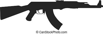Assault rifle icon isolated on white.. Kalashnikov assault...