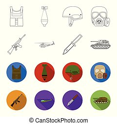 Assault rifle M16, helicopter, tank, combat knife. Military and army set collection icons in outline,flet style vector symbol stock illustration web.