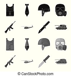 Assault rifle M16, helicopter, tank, combat knife. Military and army set collection icons in black,monochrome style vector symbol stock illustration web.