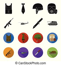 Assault rifle M16, helicopter, tank, combat knife. Military and army set collection icons in black,flet style vector symbol stock illustration web.