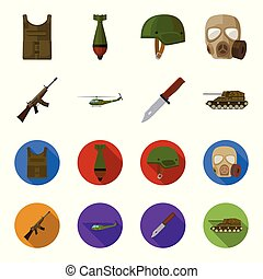 Assault rifle M16, helicopter, tank, combat knife. Military and army set collection icons in cartoon,flat style vector symbol stock illustration web.