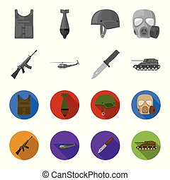 Assault rifle M16, helicopter, tank, combat knife. Military and army set collection icons in monochrome,flat style vector symbol stock illustration web.