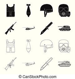 Assault rifle M16, helicopter, tank, combat knife. Military and army set collection icons in black,outline style vector symbol stock illustration web.