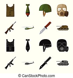 Assault rifle M16, helicopter, tank, combat knife. Military and army set collection icons in black,cartoon style vector symbol stock illustration web.