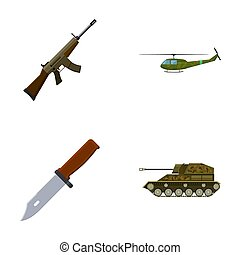 Assault rifle M16, helicopter, tank, combat knife. Military...