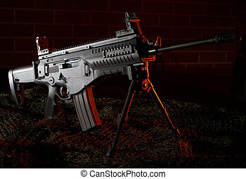 Assault rifle - Modern semi automatic rifle that is on a...
