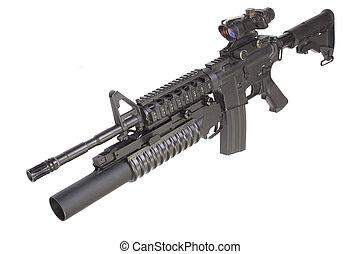 assault rifle with an M203 grenade launcher