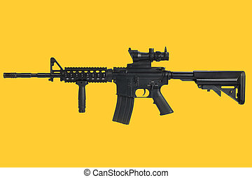 Assault rifle with optic sight and a foregrip on yellow background