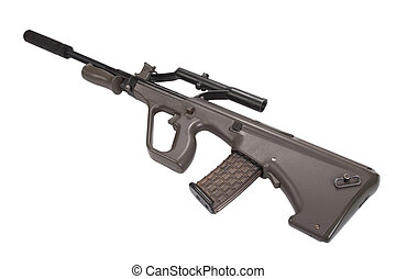 assault rifle with silencer