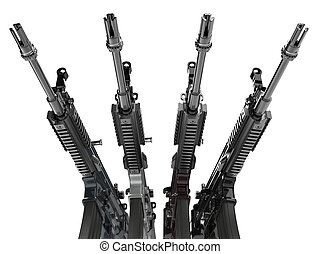 Assault rifles - low angle closeup shot