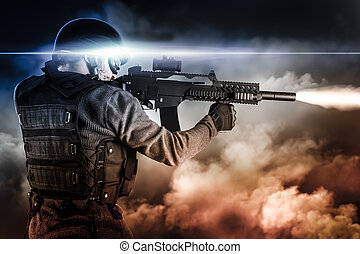 assault soldier with rifle on apocalyptic clouds, firing