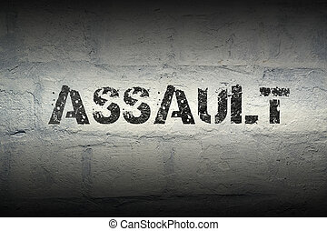 assault word gr - assault stencil print on the grunge white...