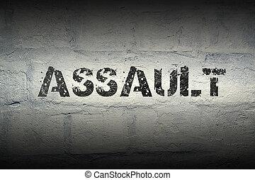 assault word gr - assault stencil print on the grunge white...