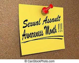 assaut, sexuel, conscience, mois