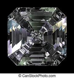 asscher, 切口, 上, ダイヤモンド, 光景