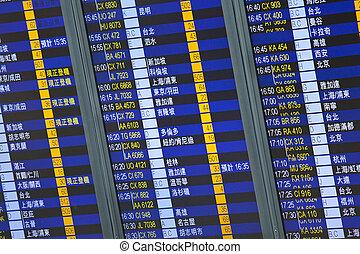 asse, astratto, image., volo, arrivo, aeroporto