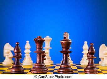 asse, concetto, pezzi gioco scacchi