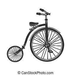 asse, farthing, incisione, abbigliamento, penny, imitation., illustration., disegnato, bicicletta, vettore, stile, ruota, schizzo, image., graffio, t-shirt, alto, stampa, mano, design.