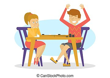 asse, gioco tavola, checkers., seduta, bambini, gioco