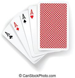 asse, karten, feuerhaken, spiel, spielende