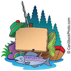 asse legno, con, apparecchiatura pesca